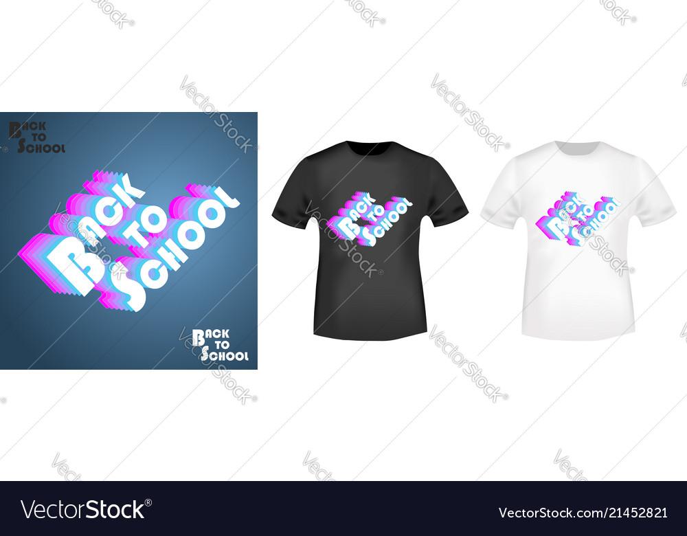 Retro back to school t shirt print stamp