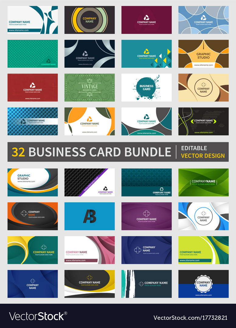 Set of 32 creative business card bundle design vector image reheart Images