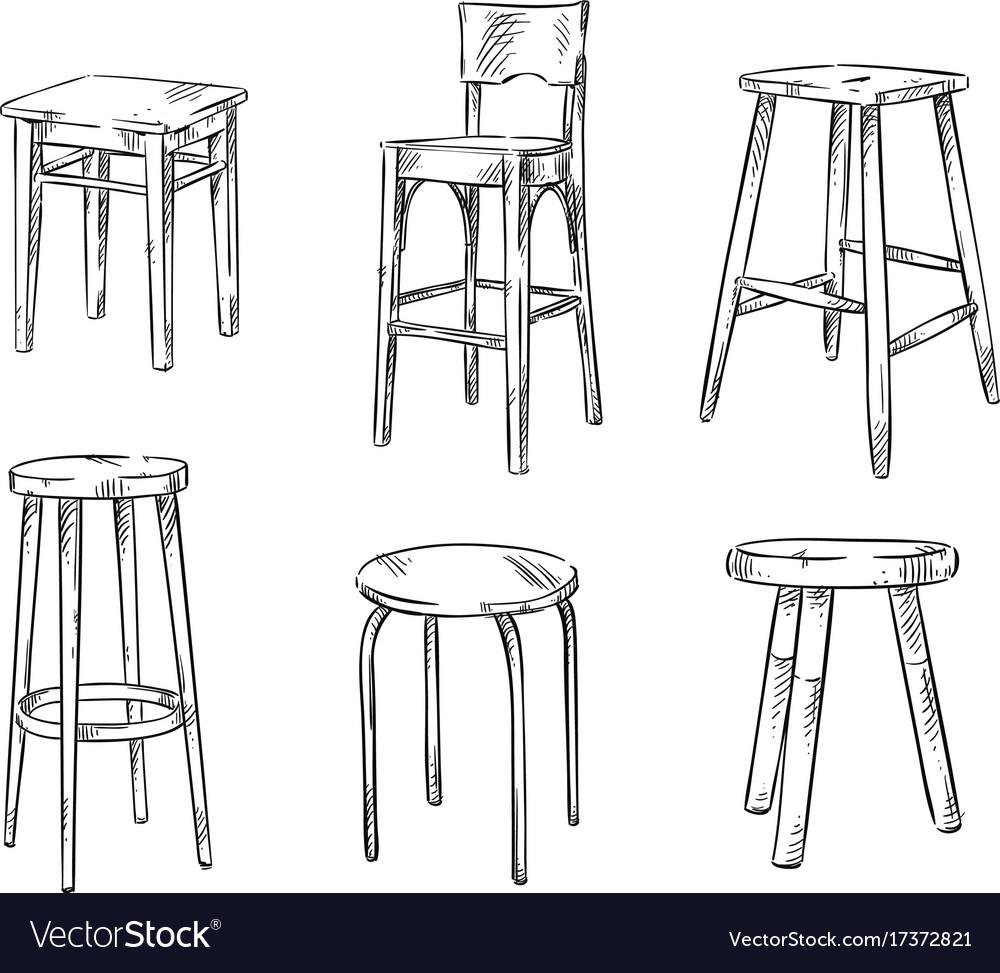 Set of hand drawn stools vector image