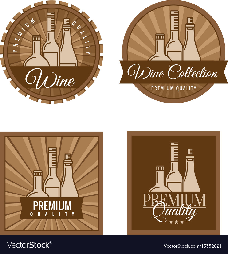 Set of labels for wine