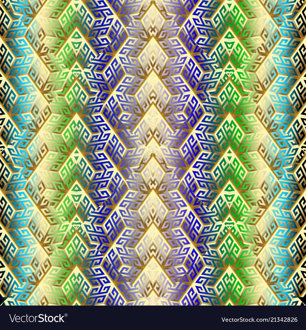 3d gold cubes greek seamless pattern
