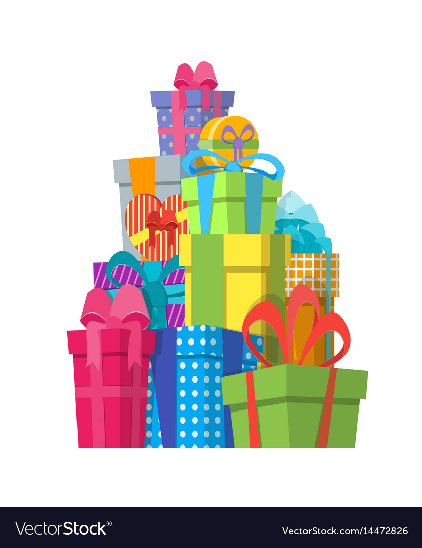 Cartoon color gift boxes pile Royalty Free Vector Image