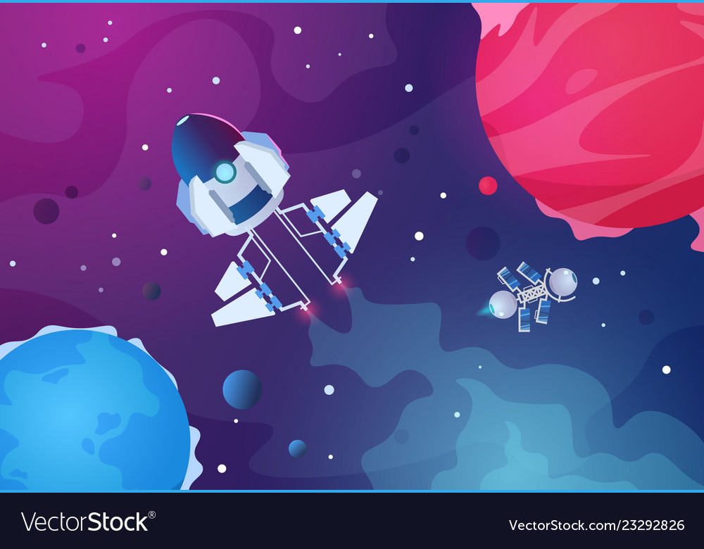 Cartoon space background alien planets spaceship