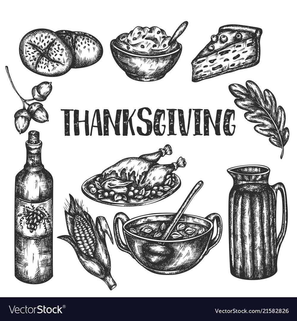 Doodle thanksgiving set sketch design of