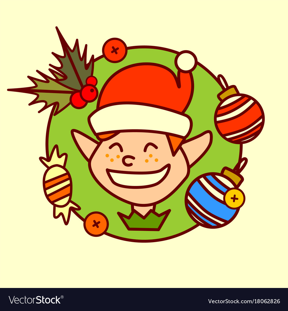 Elf icon merry christmas and happy new year