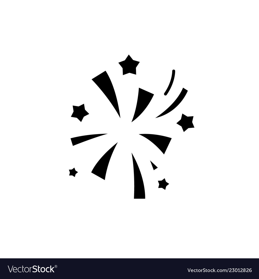 Fireworks black icon sign on isolated