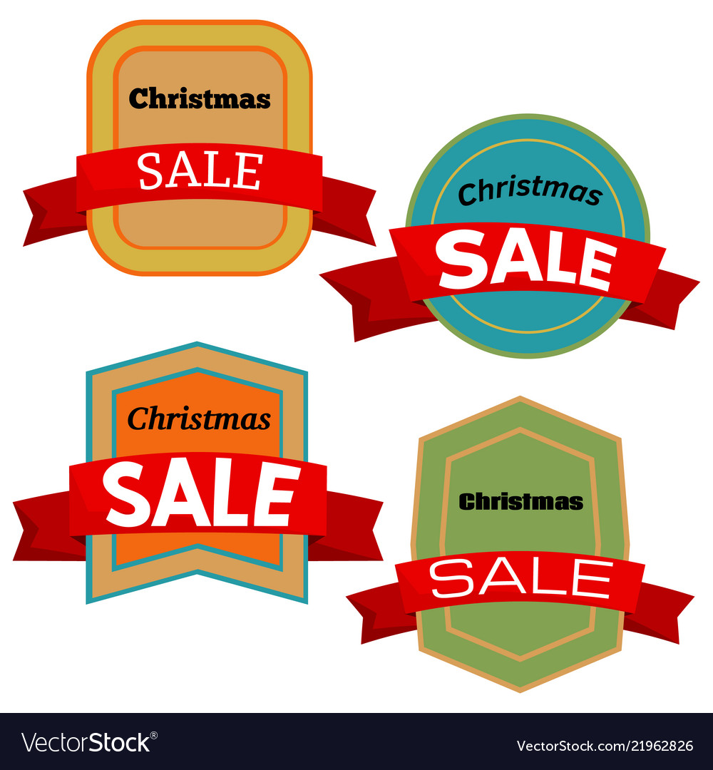 Four colorful christmas sale badges