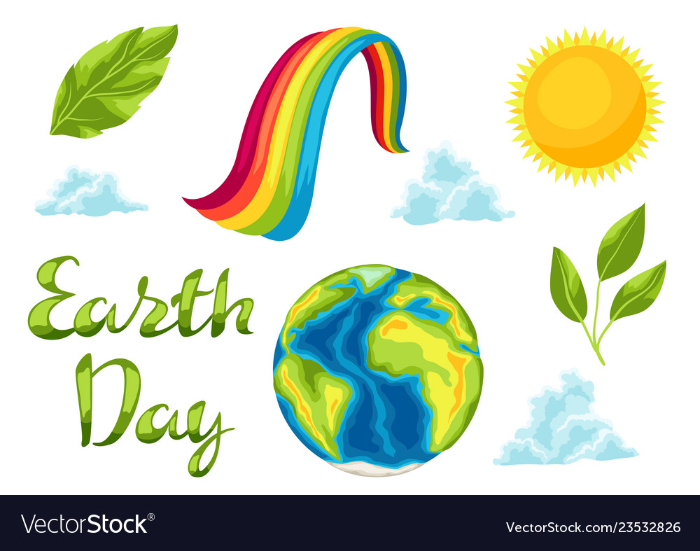 Happy earth day set of items