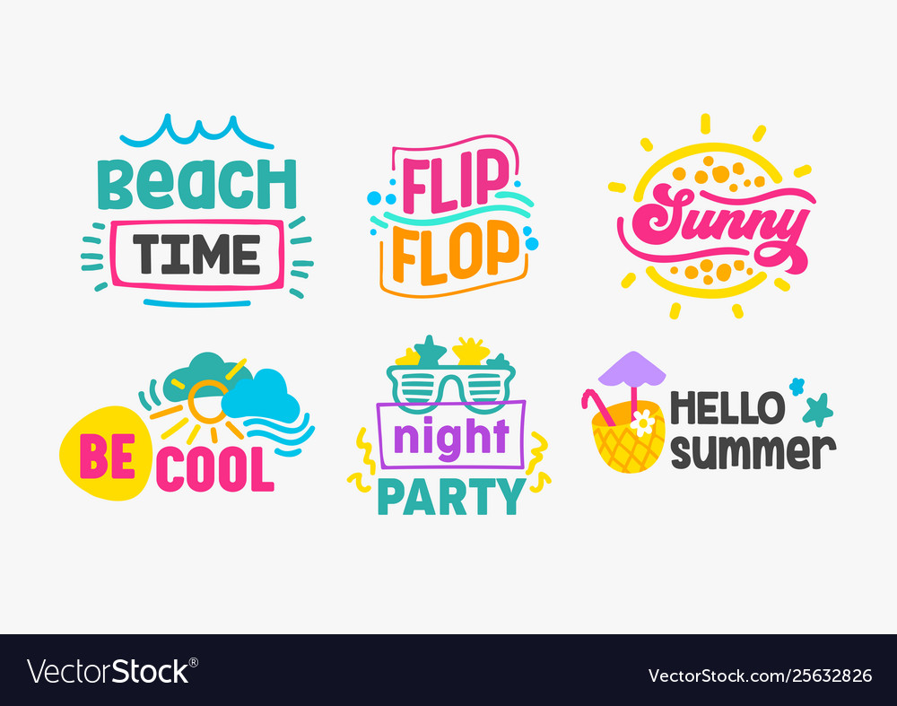 Hello summer holidays labels and badges design