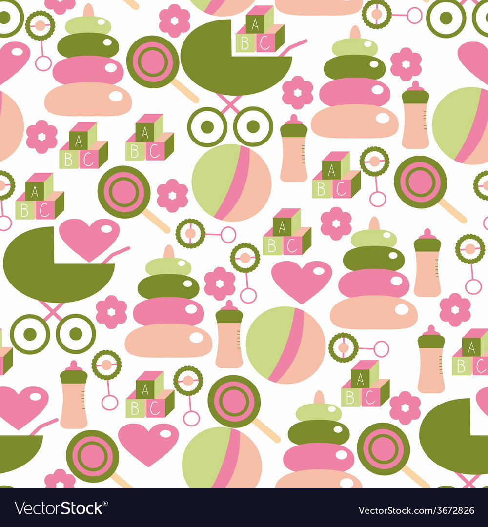 Seamless Pattern for Baby Girl Kids Staff in Pink