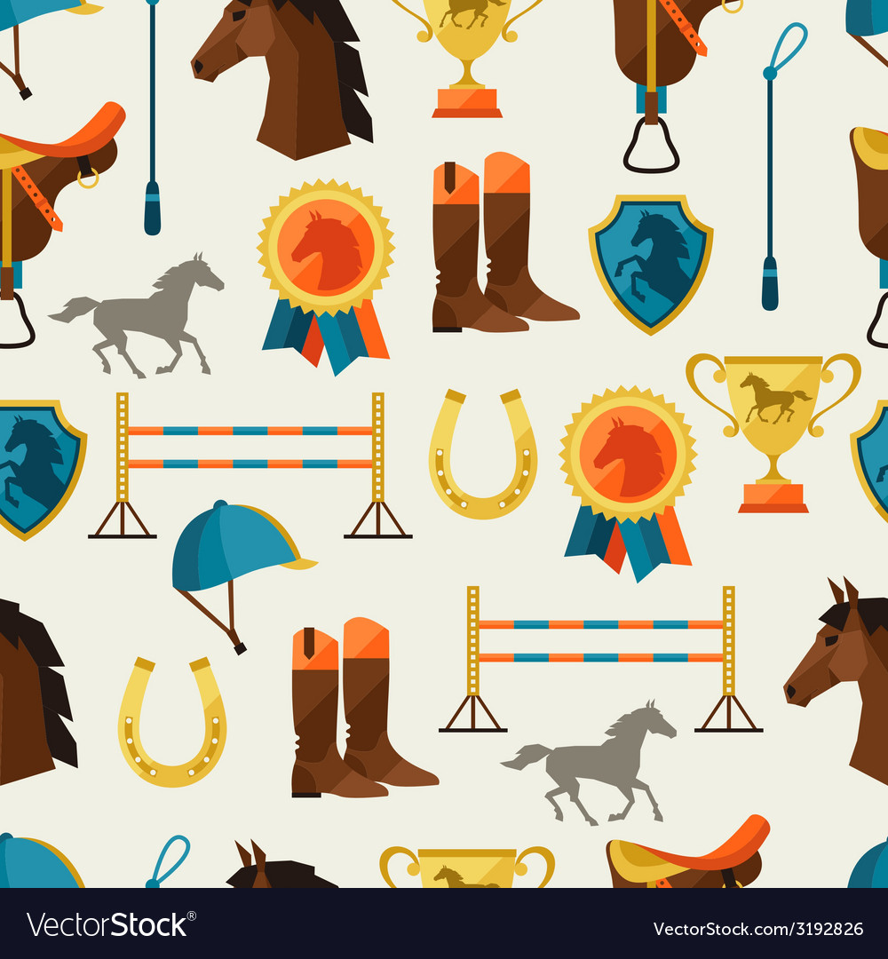 Seamless pattern with horse equipment in flat