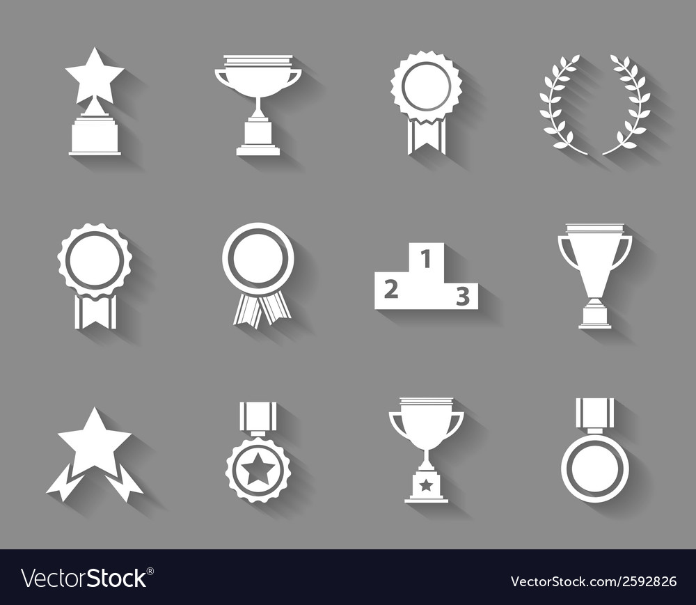 Set of award success and victory icons vector image