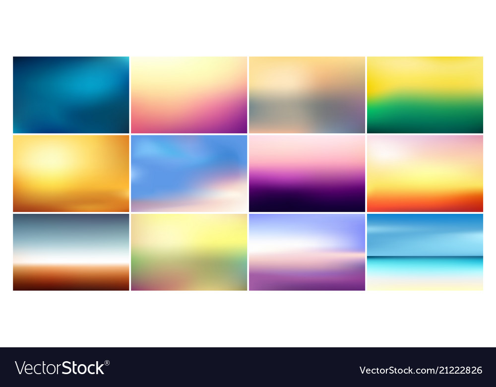 Set of blurred backgrounds in