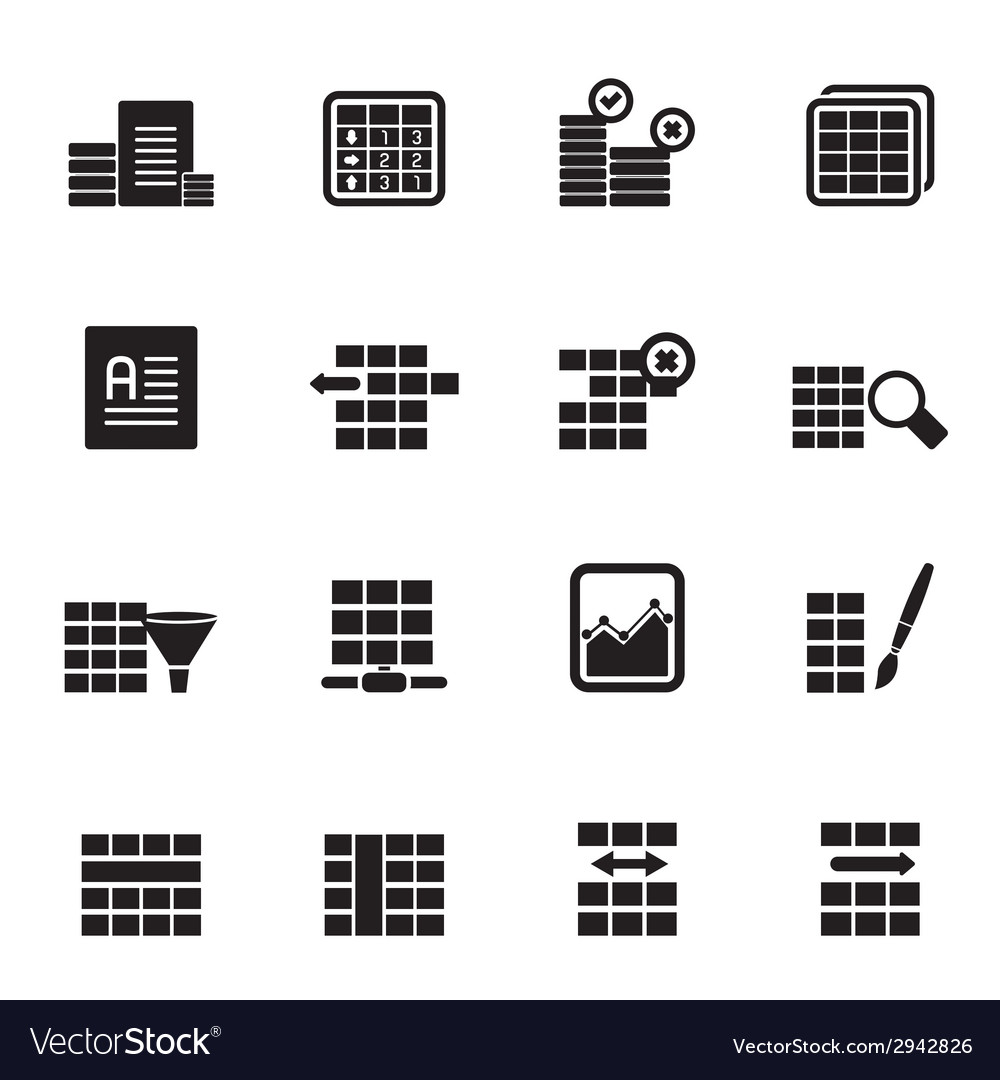 silhouette database and table formatting icons vector image