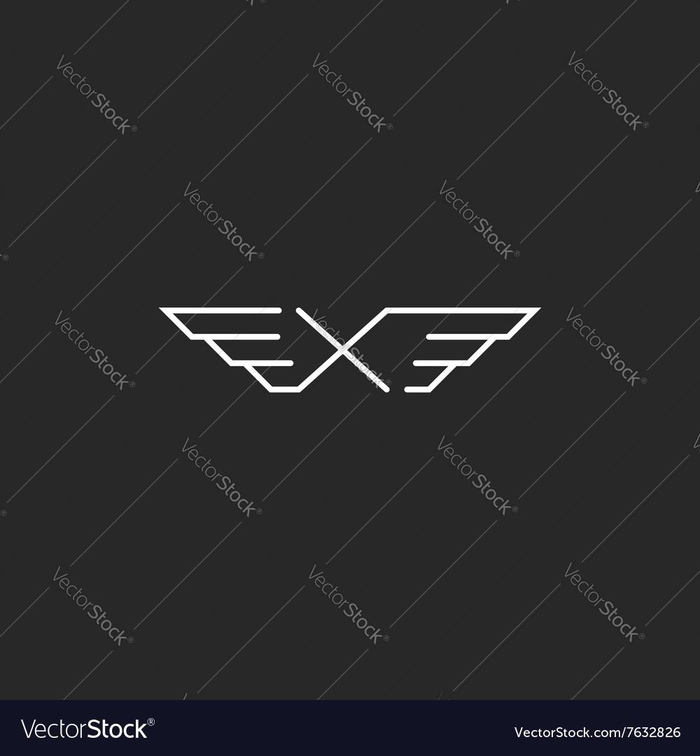 Winged letter X monogram logo mockup design