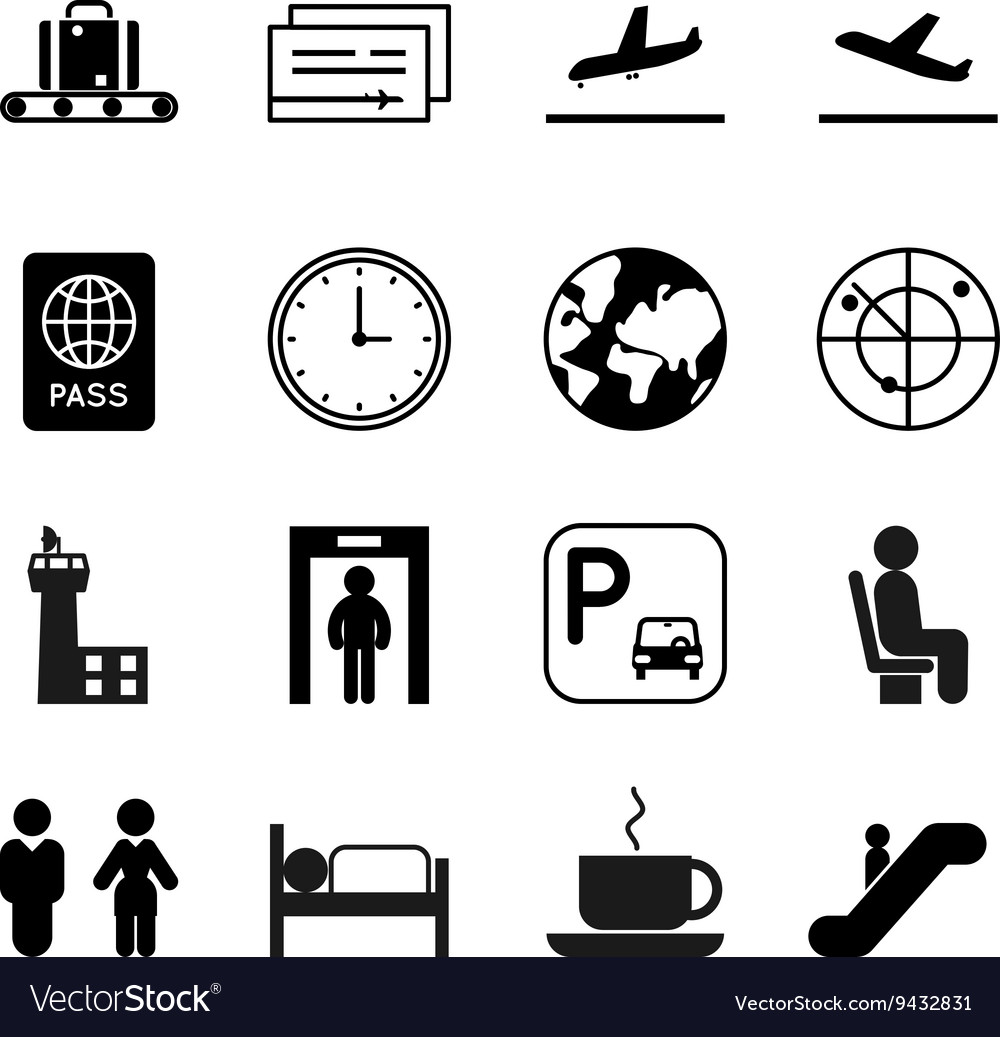 Airport And Traveling Icons Royalty Free Vector Image
