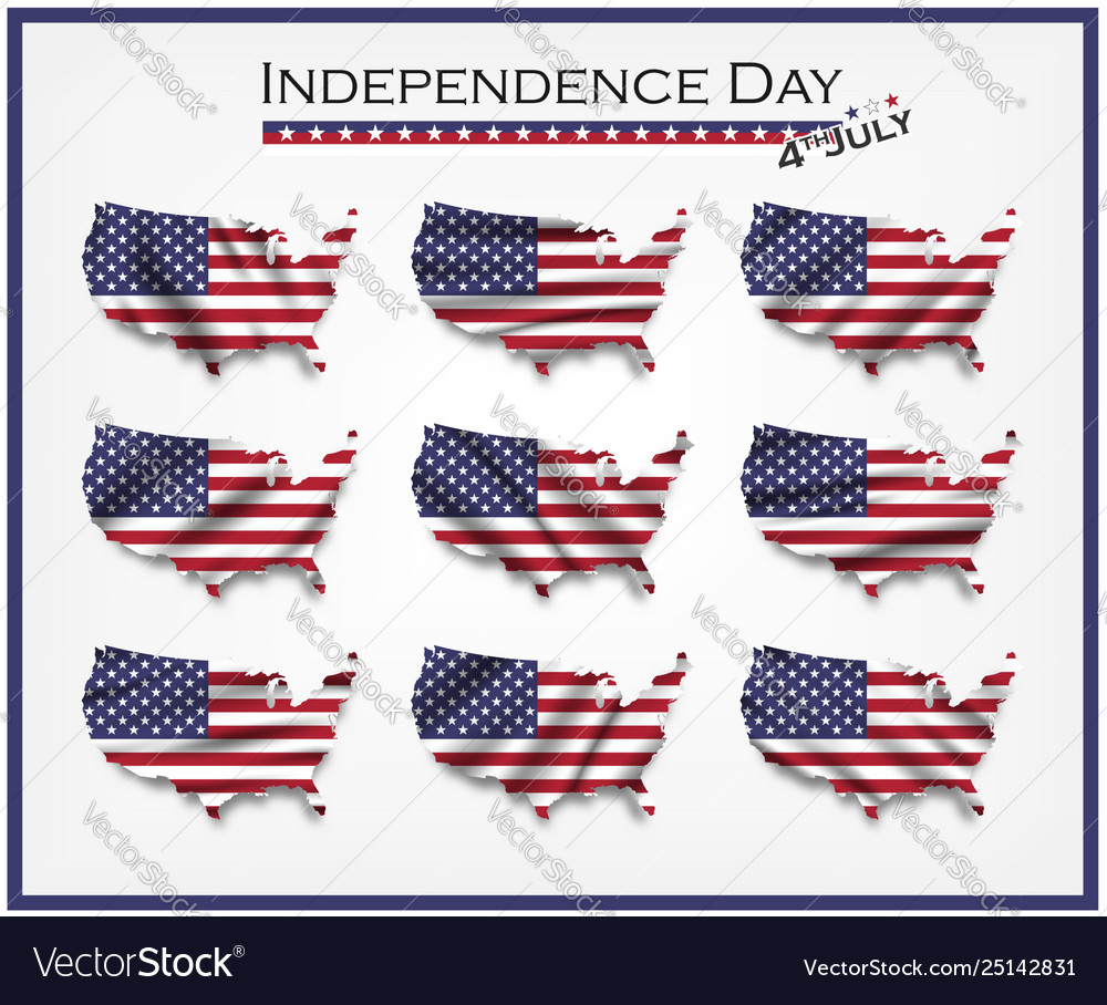 America map and waving flag set independence day