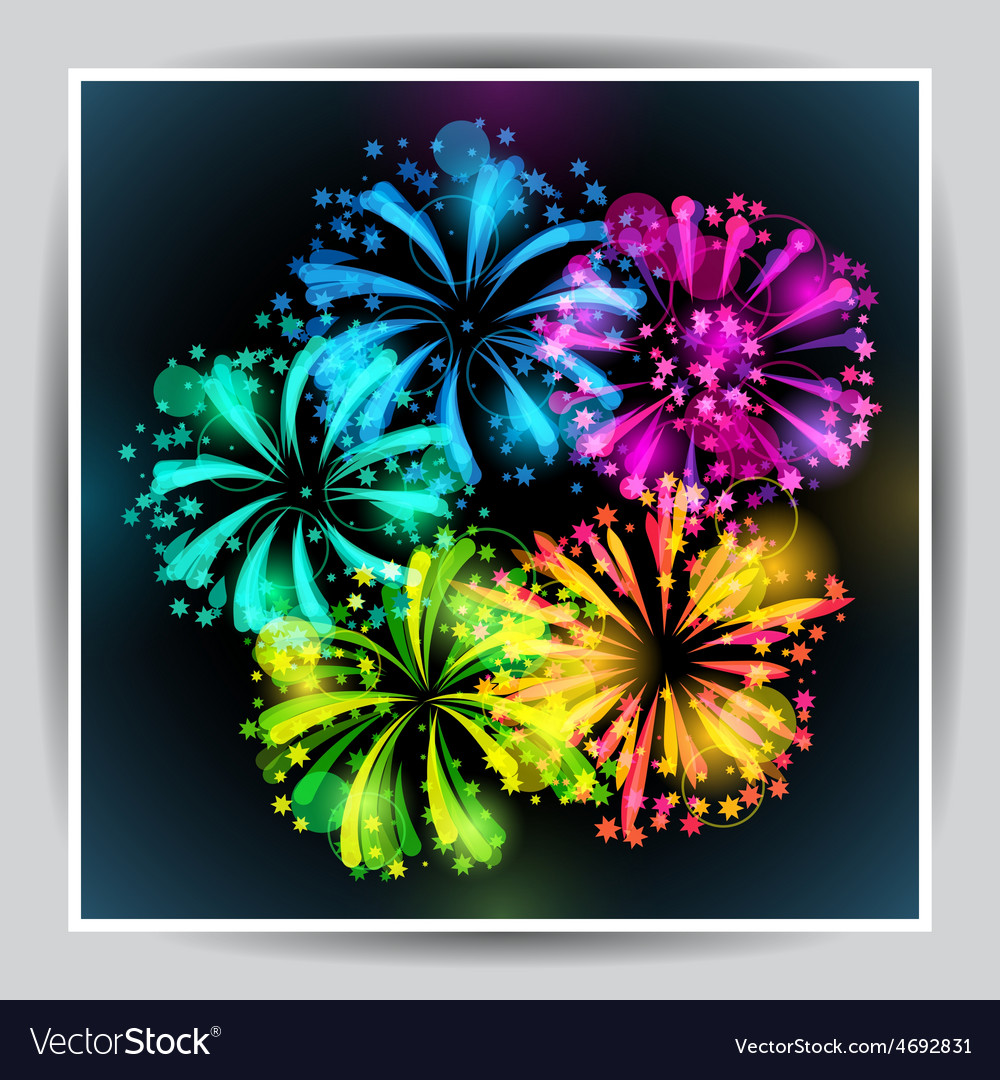 Background with bright colorful fireworks and