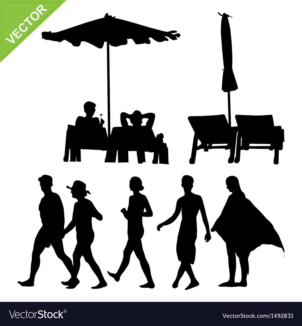 Beach umbrella and deck ans peoples silhouette vector image