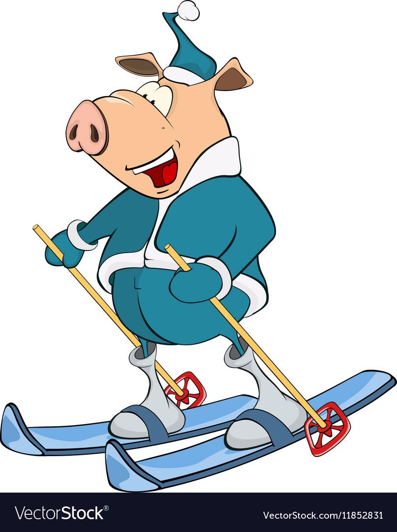 Cute Pig Skier Cartoon Character