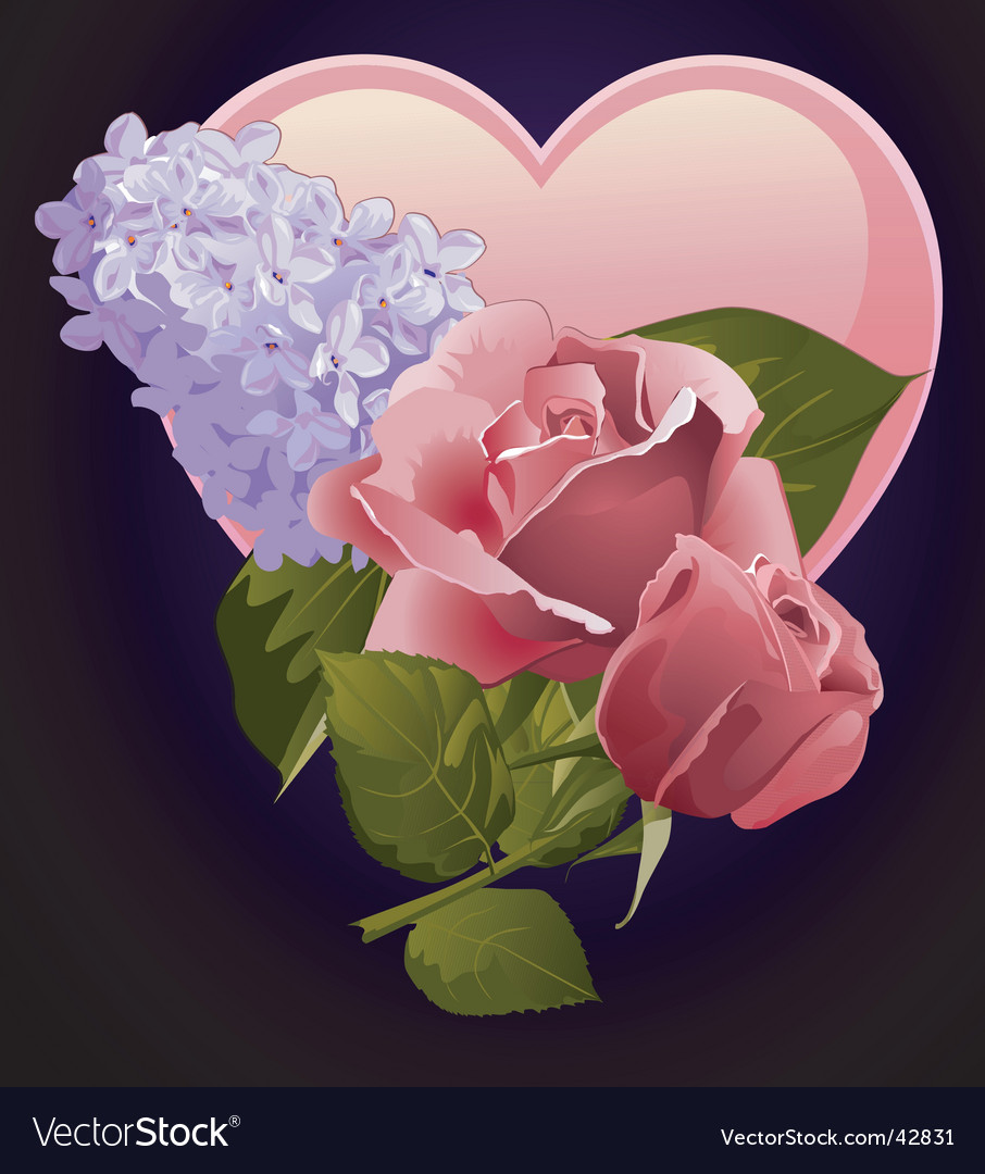 Floral and heart design vector image