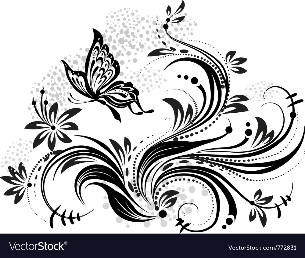 Floral design element and butterfly