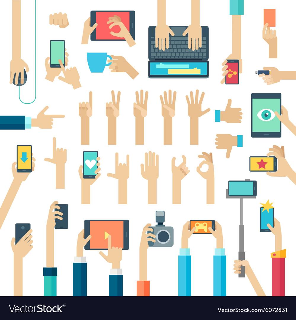 Hands set with gadgets