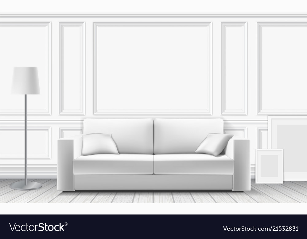 Modern sofa on background of white wall