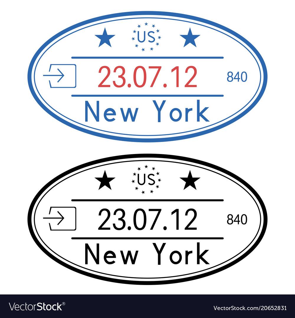 New York Usa Oval Passport Stamps With Date Vector Image