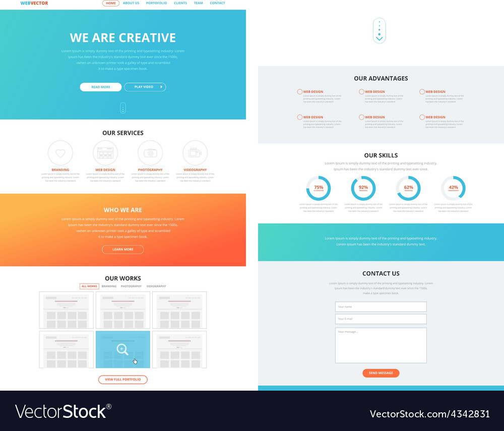 One page flat website design template concept