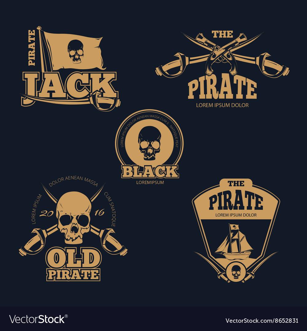 Retro piratical color logo labels and badges