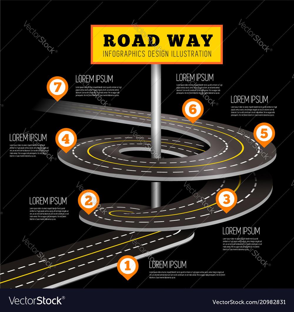 Road way design infographics