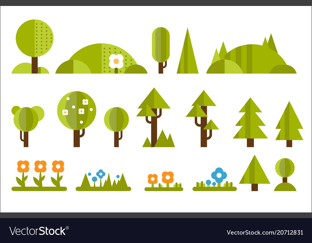 Set of elements for forest landscape green trees