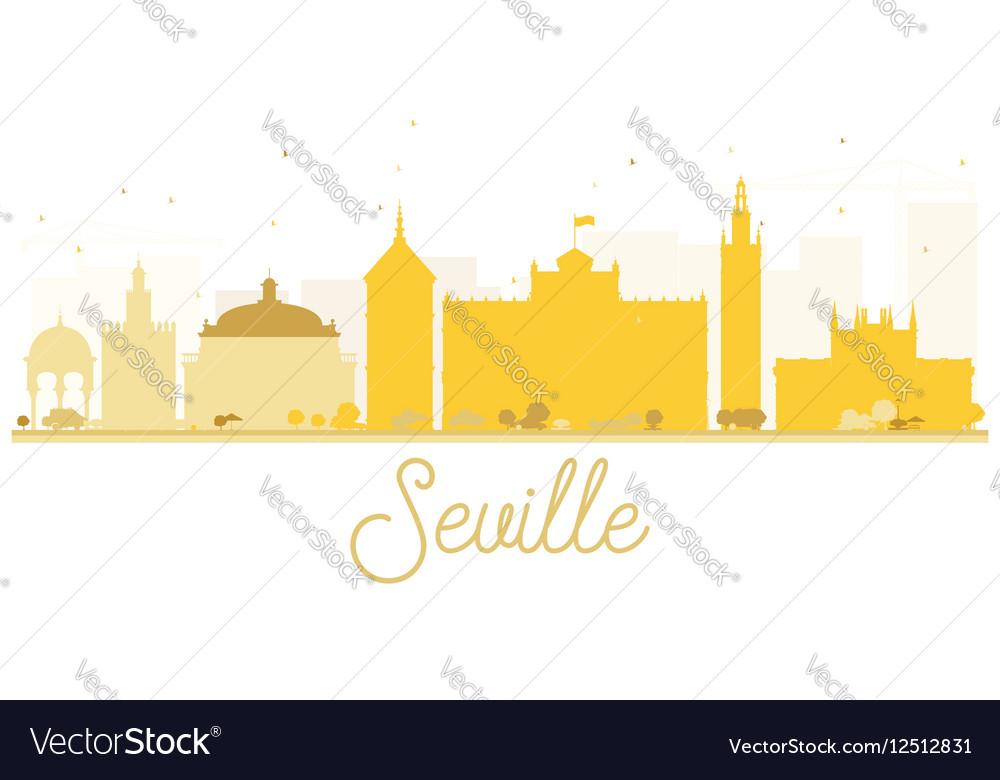 Seville City skyline golden silhouette