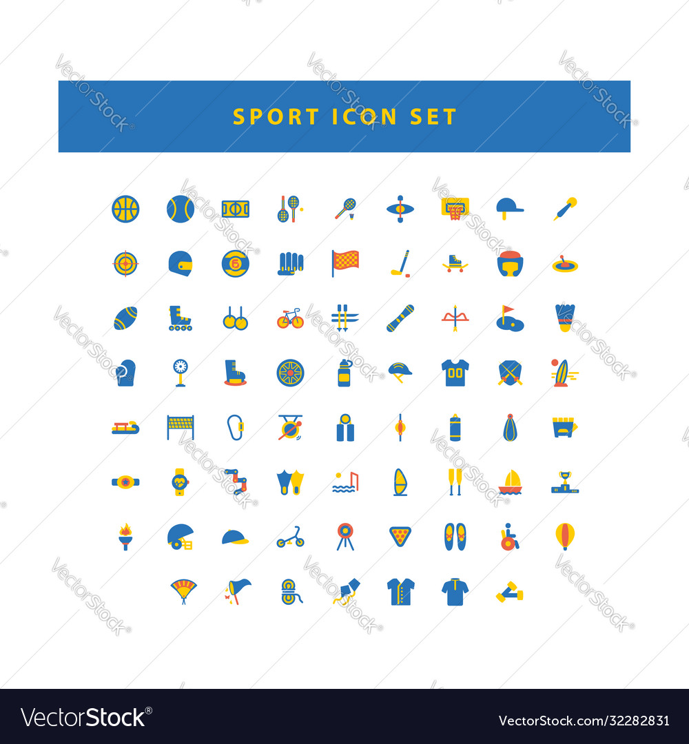 Sport icon set with flat color style design