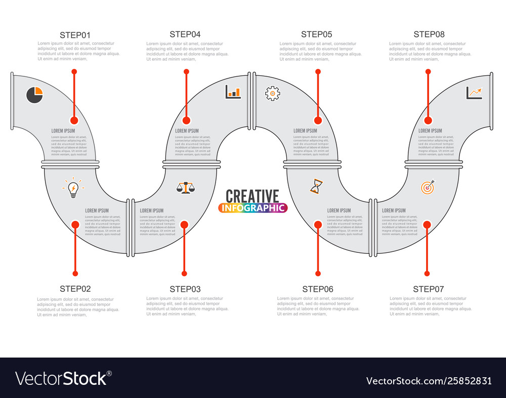 Timeline infographics design template with 8