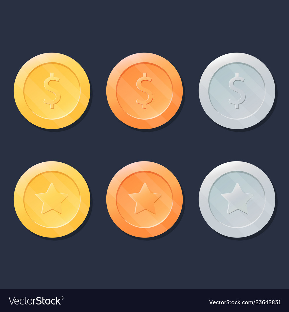 Video game coins or medals set gold silver and