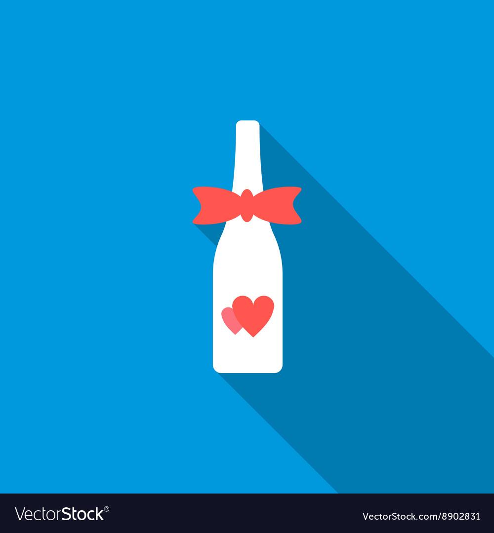 Wedding champagne bottle icon flat style