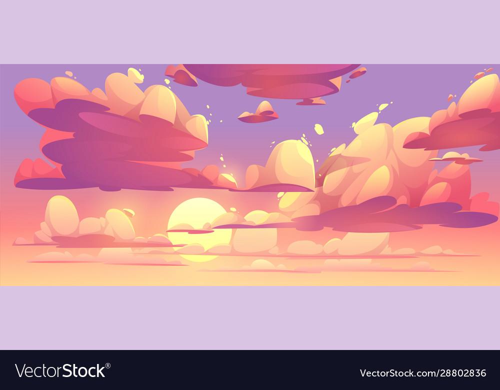 Cartoon sunset sky with clouds
