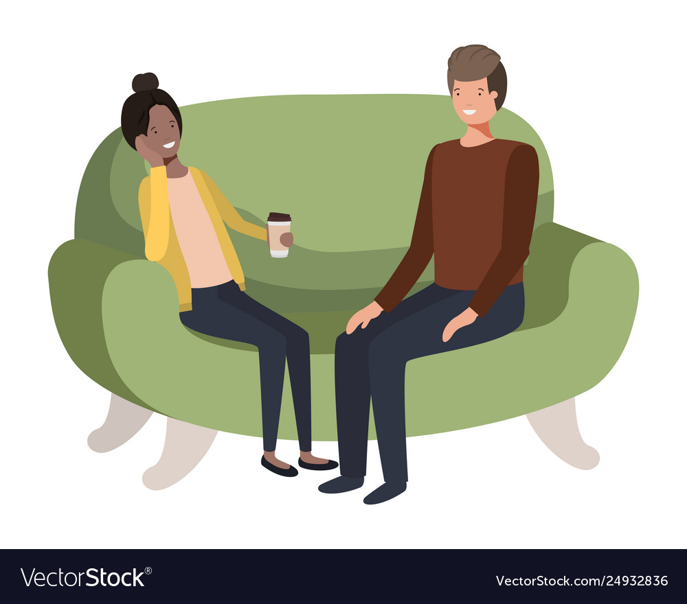 Couple using smartphone in sofa avatar