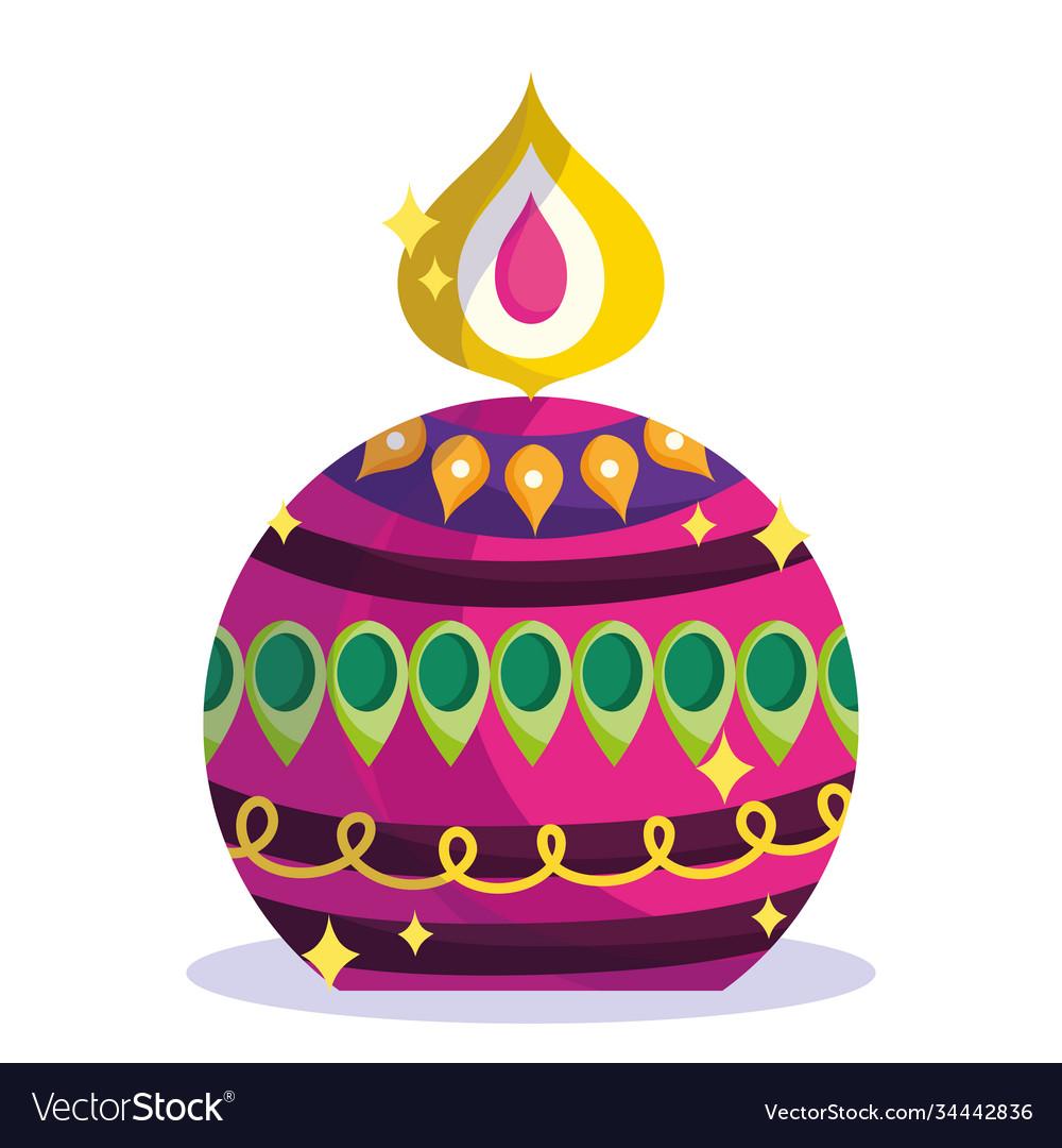 Happy diwali festival round burning candle