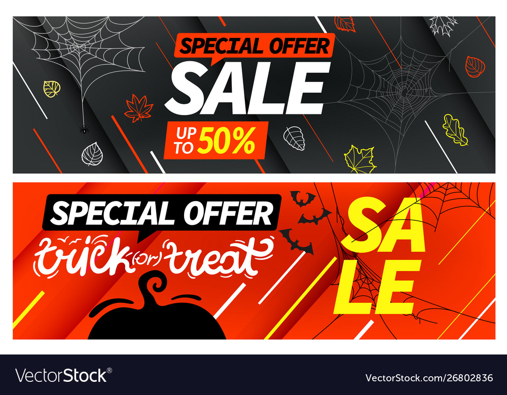 Happy halloween sale special offer banners set