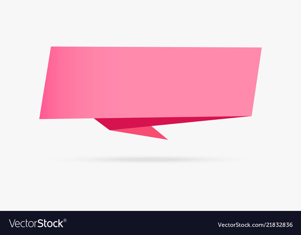 Pink love banner origami ribbon paper infographic