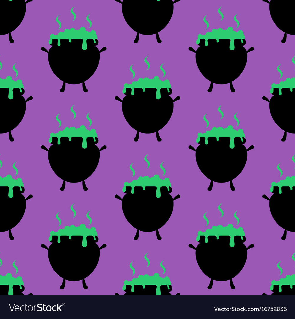 Witch cauldron pattern vector image
