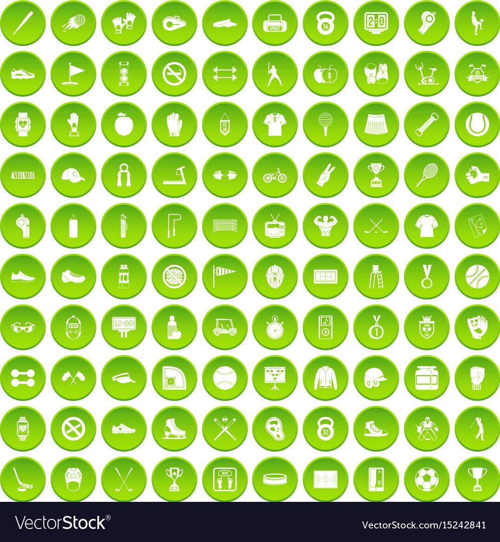 100 sport equipment icons set green circle