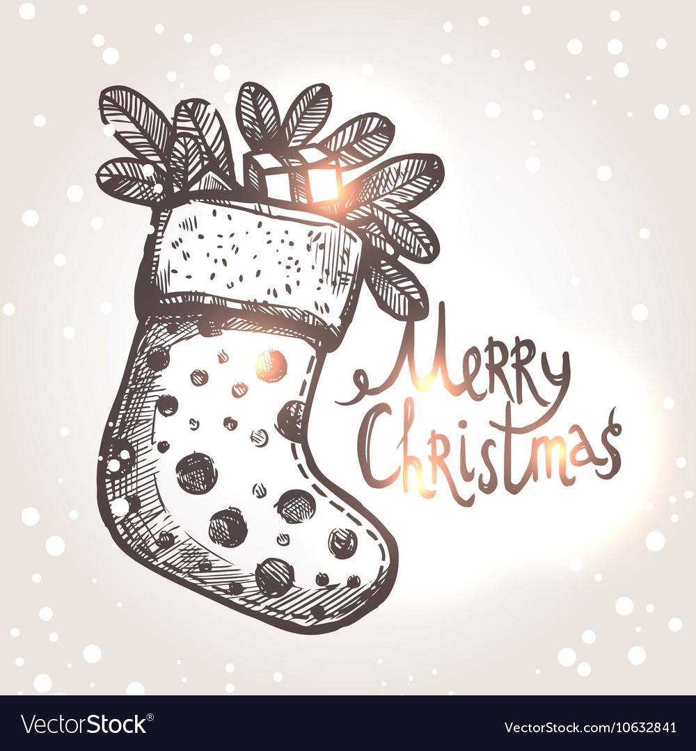 Christmas Card With Christmas Sock