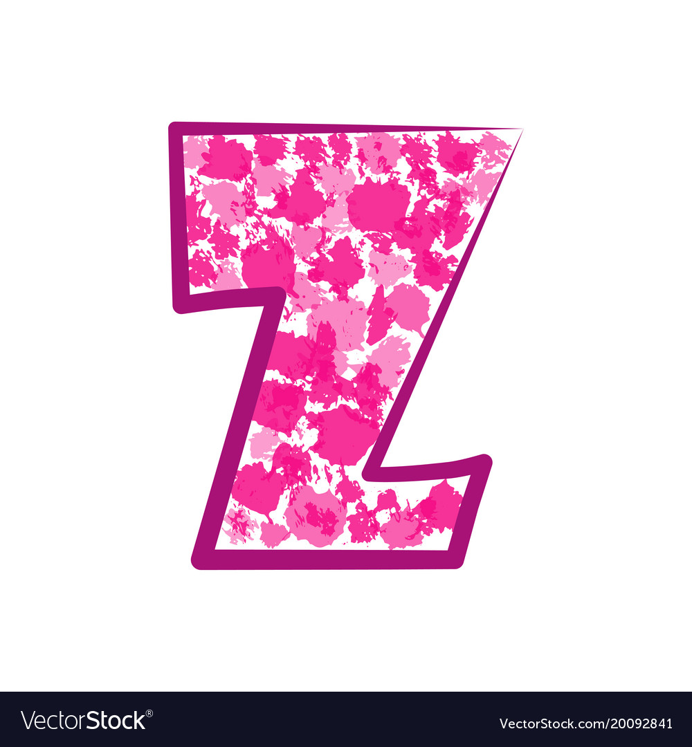English pink letter z on a white background