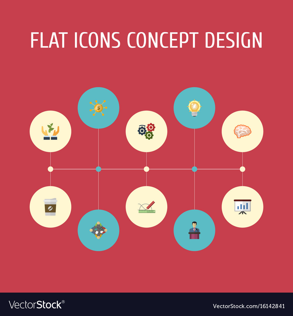 Flat icons mind help show and other