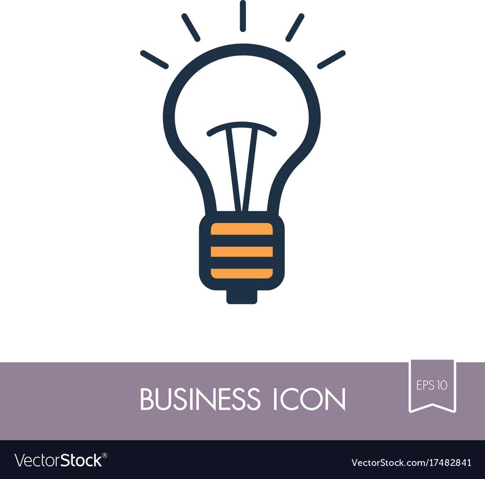 Idea lightbulb outline icon business sign vector image