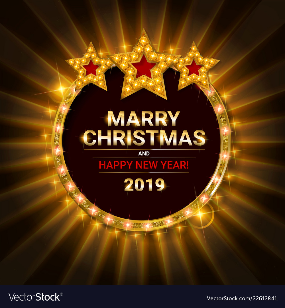 Christmas Party 2019 Logo.Invitation Merry Christmas Party Poster Banner Vector Image